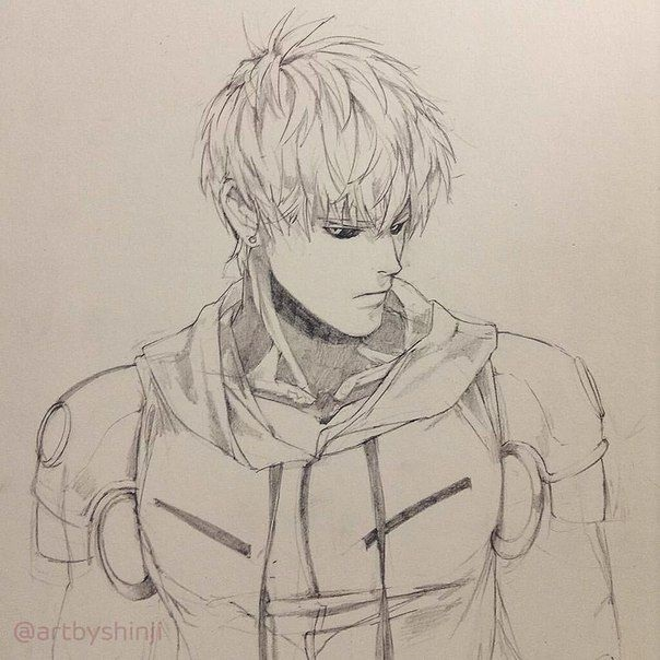 Картинки, рисунок Геноса из аниме Ванпанчмен 01