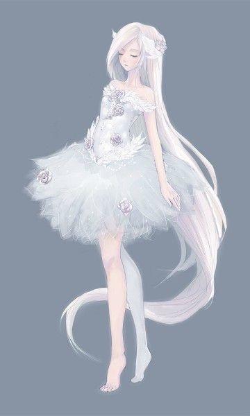 Красивая аниме девушка альбинос 02