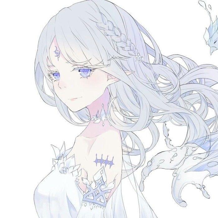Красивая аниме девушка альбинос 03