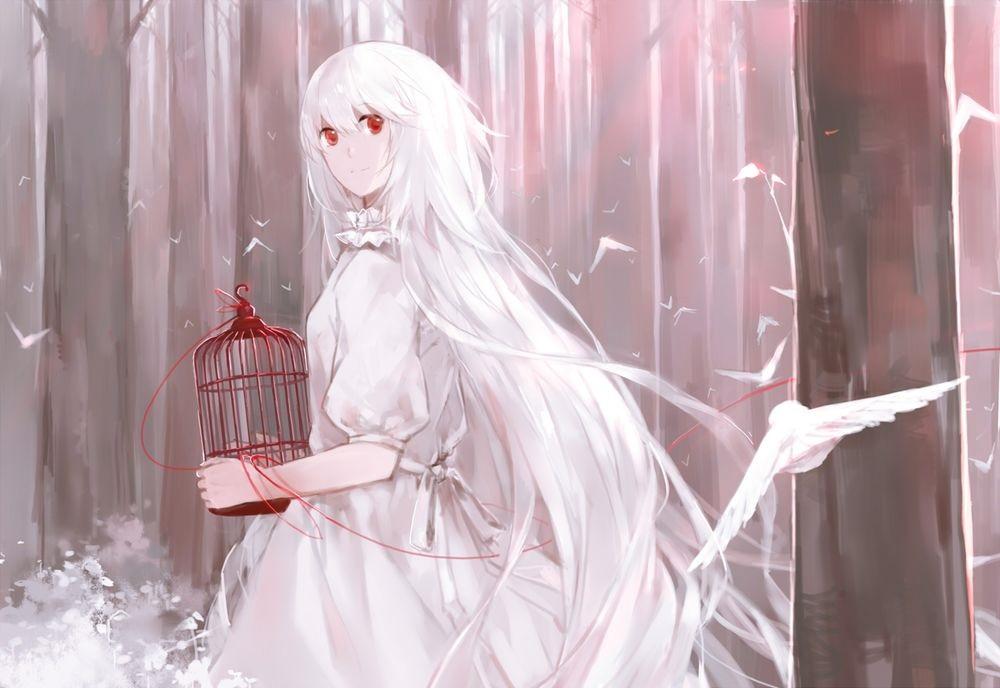 Красивая аниме девушка альбинос 10
