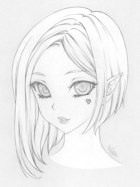 Красивые аниме рисунки для срисовки, легкие и красивые 02