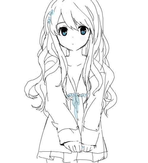 Красивые аниме рисунки для срисовки, легкие и красивые 04