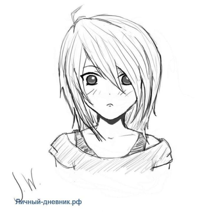 Красивые аниме рисунки для срисовки, легкие и красивые 05
