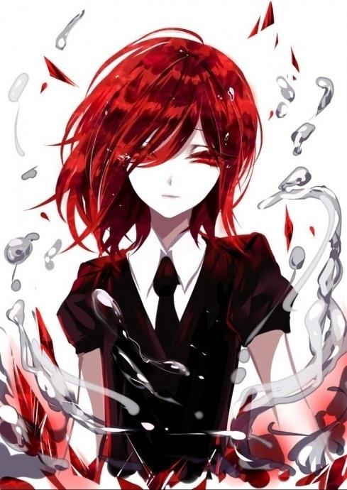 Красивый аниме арт парень с красными волосами 12