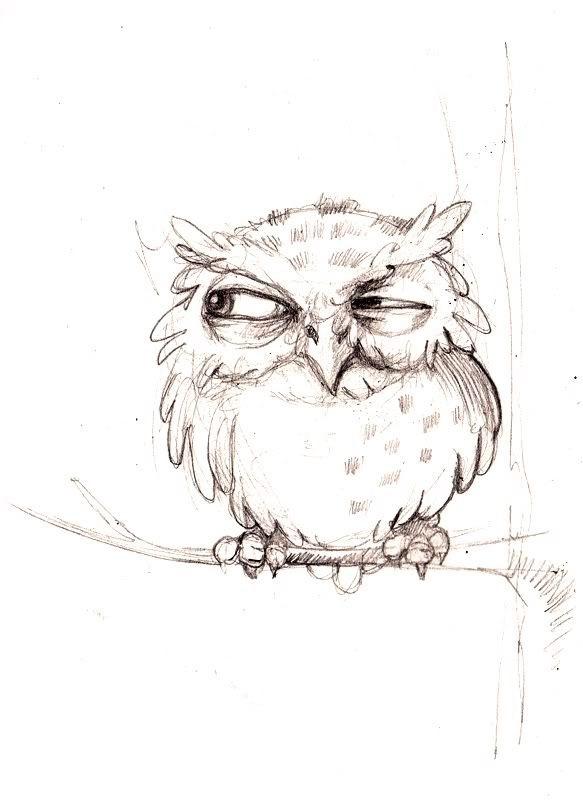 Легкие рисунки совы карандашом, картинки 03