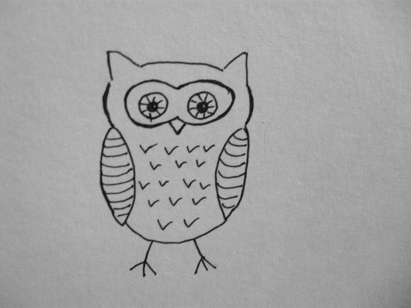 Легкие рисунки совы карандашом, картинки 06