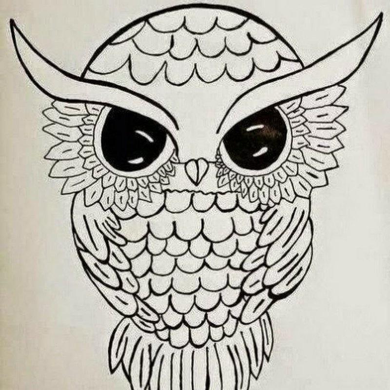 Легкие рисунки совы карандашом, картинки 10