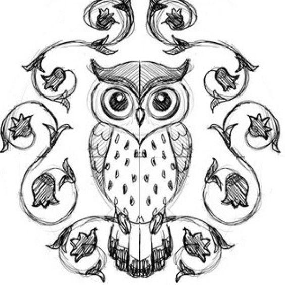 Легкие рисунки совы карандашом, картинки 20