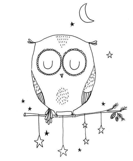 Легкие рисунки совы карандашом, картинки 21