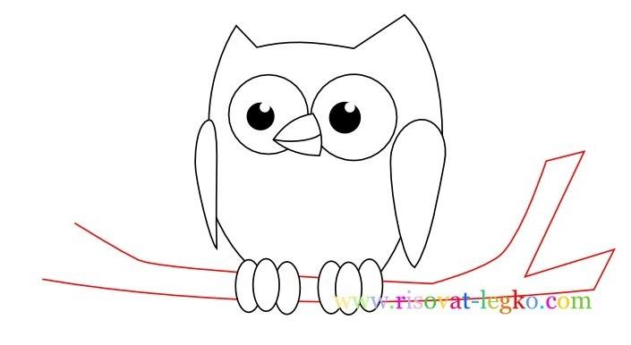 Легкие рисунки совы карандашом, картинки 25