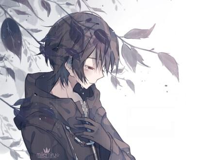 Очень грустные аниме арты парней, картинки 02