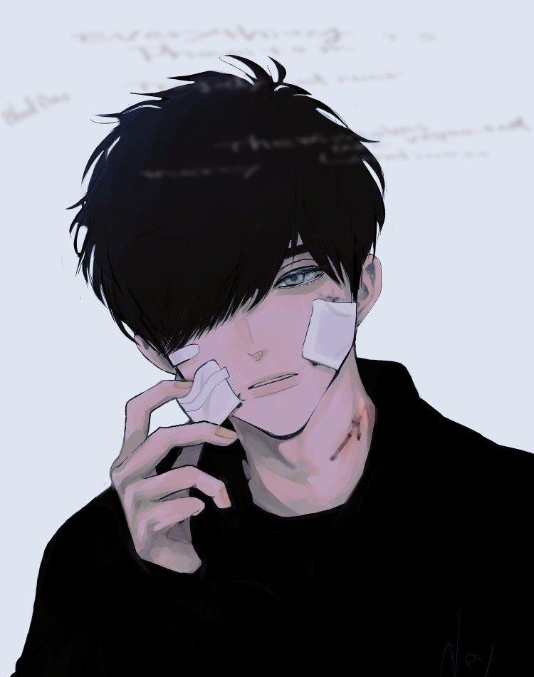 Очень грустные аниме арты парней, картинки 09