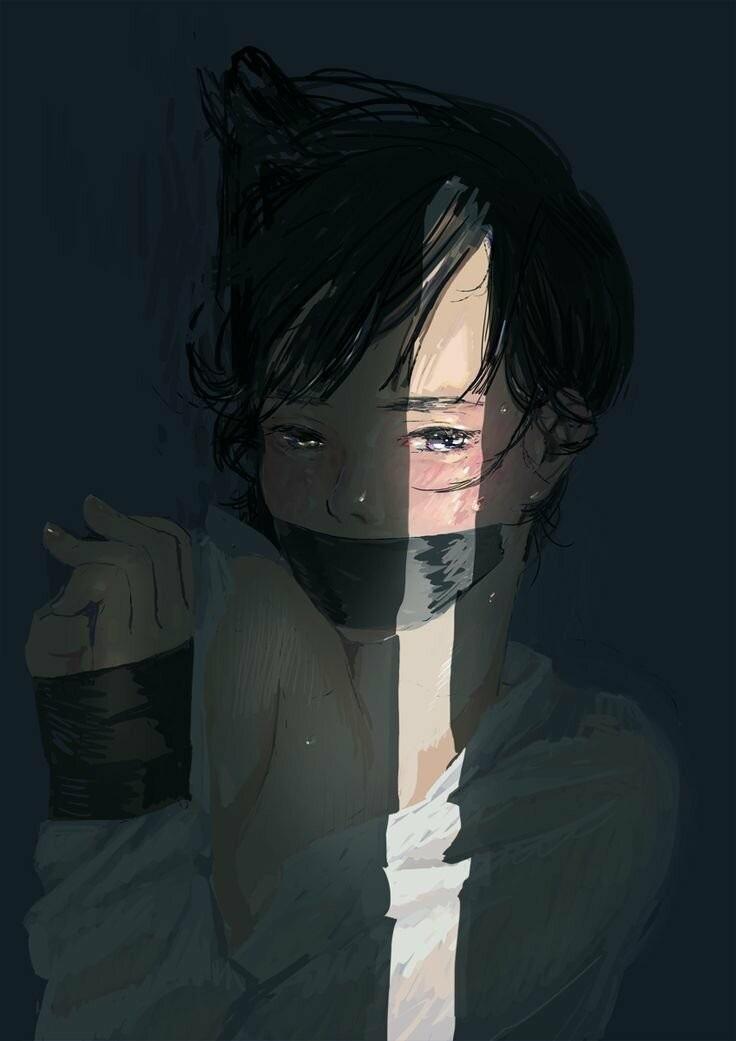 Очень грустные аниме арты парней, картинки 11