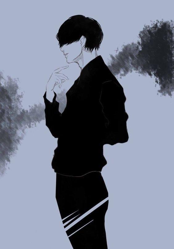 Очень грустные аниме арты парней, картинки 20