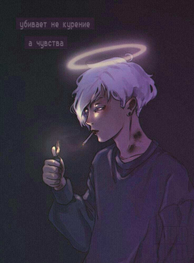 Очень грустные аниме арты парней, картинки 23