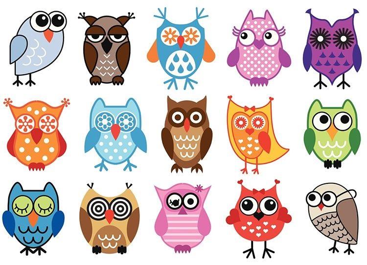 Простой цветной рисунок совы, картинки 20