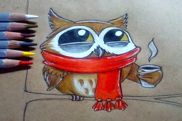 Простой цветной рисунок совы, картинки 22