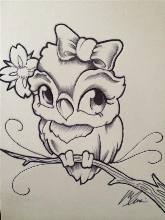Простой цветной рисунок совы, картинки 23