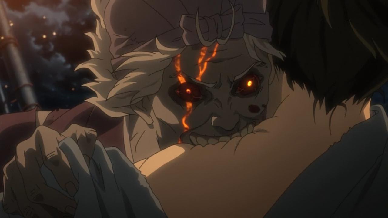 Аниме Кабанэри. Зомби кусает человека в шею