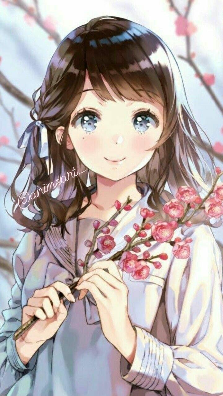Красивая арт девушка аниме   яркие картинки 02