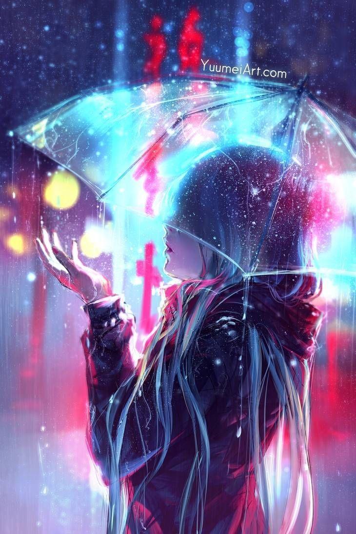 Красивая арт девушка аниме   яркие картинки 10
