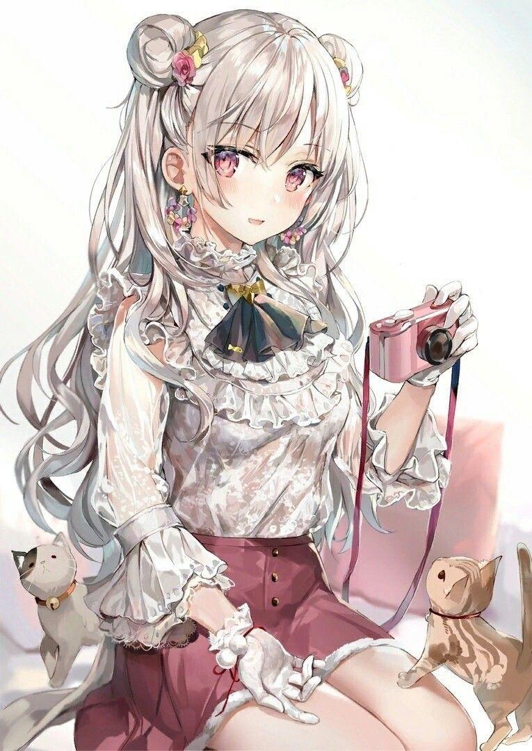 Красивая арт девушка аниме   яркие картинки 11