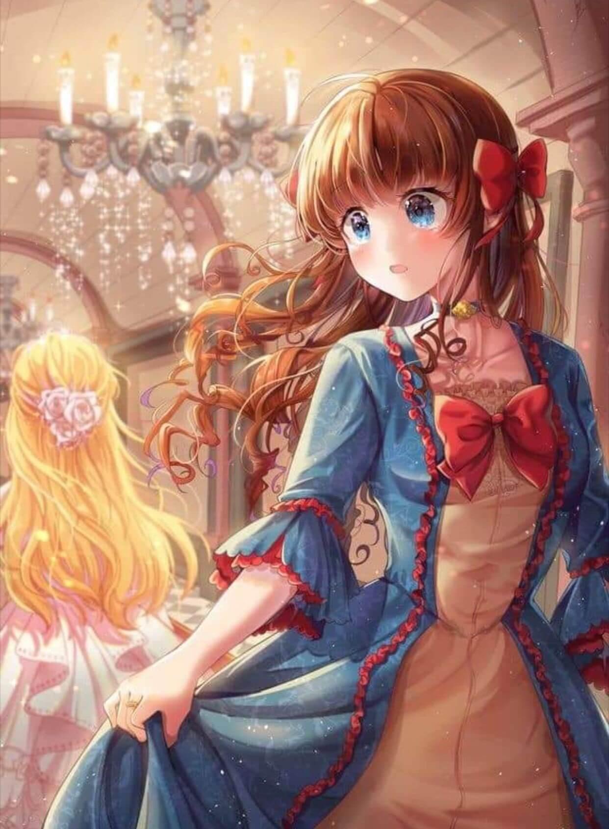 Красивая арт девушка аниме   яркие картинки 13
