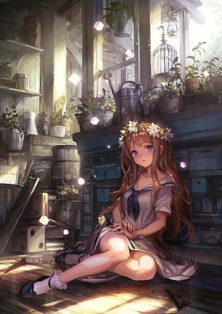 Красивая арт девушка аниме   яркие картинки 14