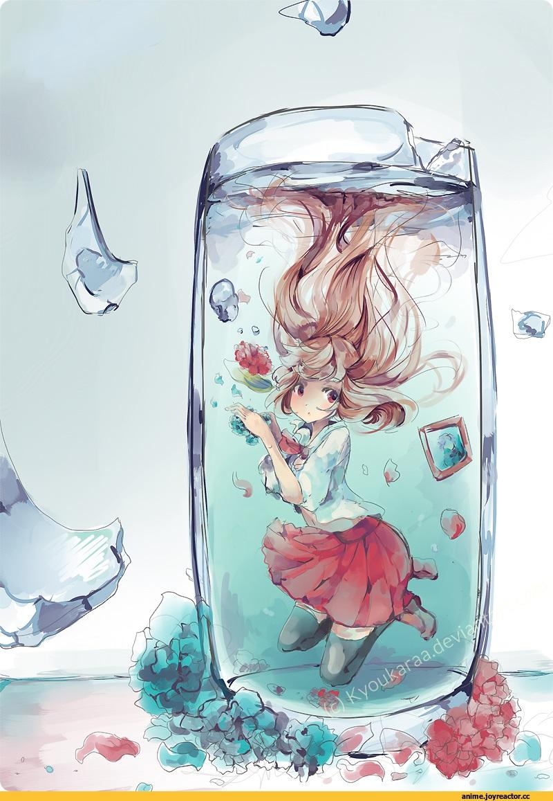 Красивая арт девушка аниме   яркие картинки 16
