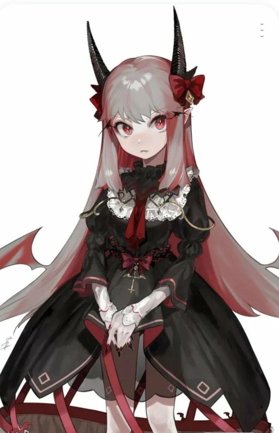 Красивые аниме арты тян демон 01