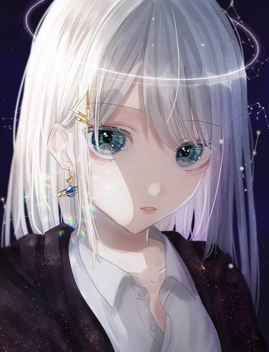 Красивые аниме арты тян с белыми волосами 10