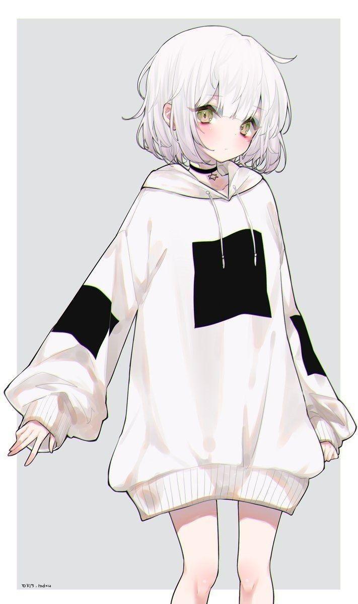 Красивые аниме арты тян с белыми волосами 17