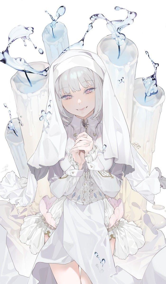 Красивые аниме арты тян с белыми волосами 18