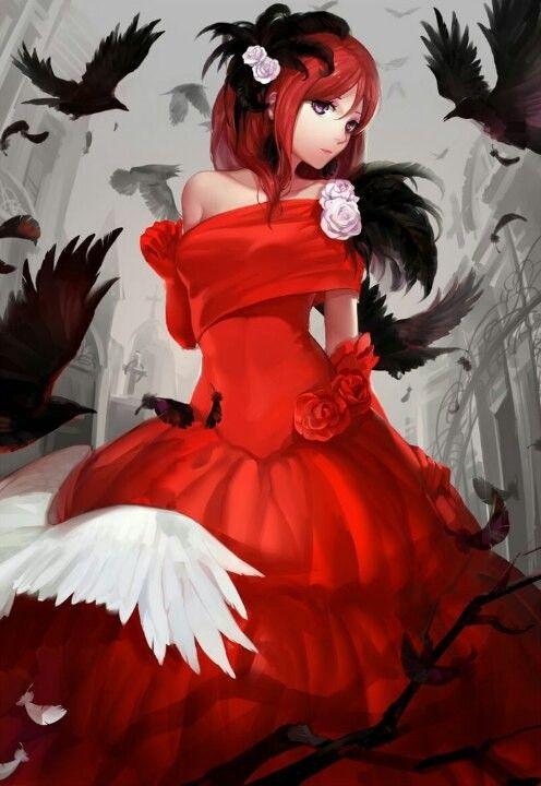 Красивые аниме девушки с черными волосами 16