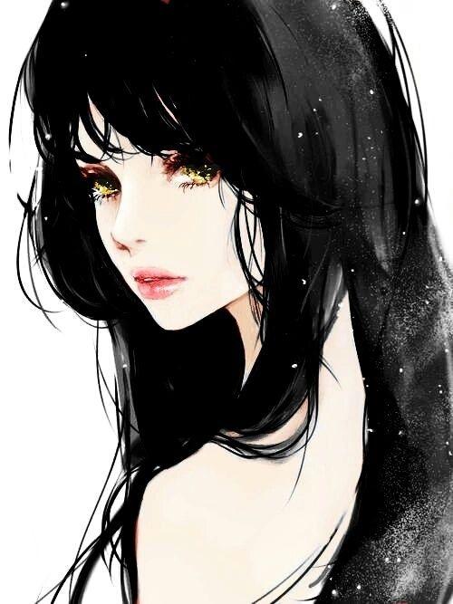 Красивые аниме девушки с черными волосами 30