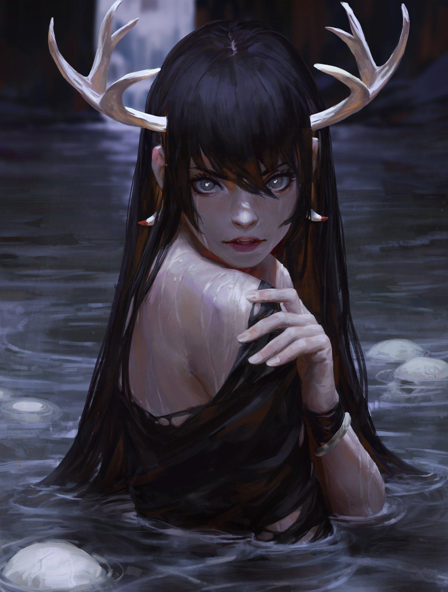 Красивые аниме девушки с рогами в картинках 17