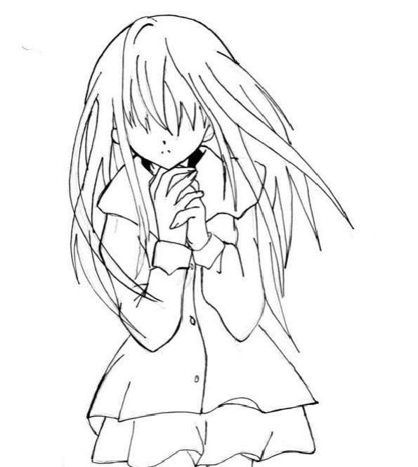 Красивые аниме скетчи для срисовки (14)