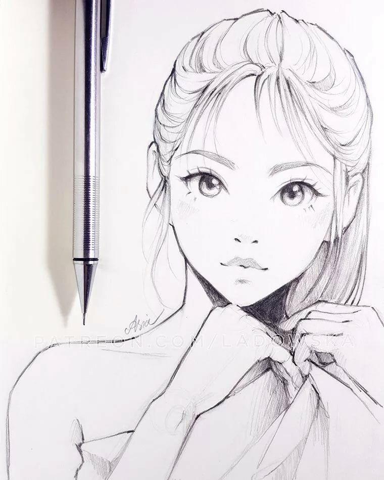 Красивые аниме скетчи для срисовки (16)