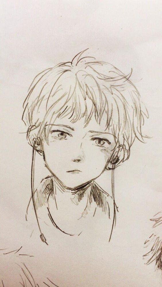 Красивые аниме скетчи для срисовки (17)