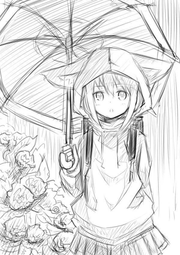 Красивые аниме скетчи для срисовки (18)