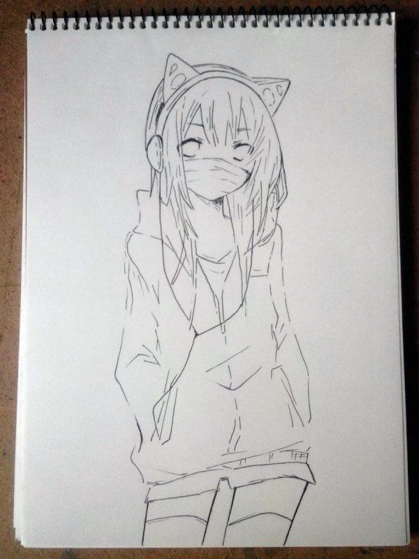 Красивые аниме скетчи для срисовки (3)