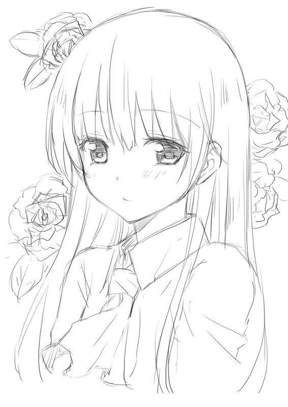 Красивые аниме скетчи для срисовки (6)