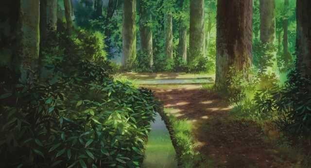 Красивый аниме фон лес 10