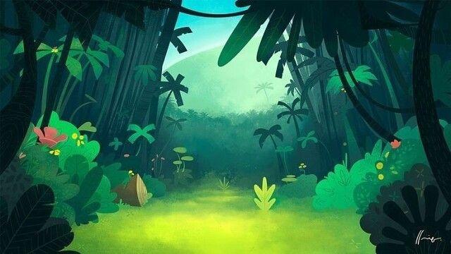 Красивый аниме фон лес 11