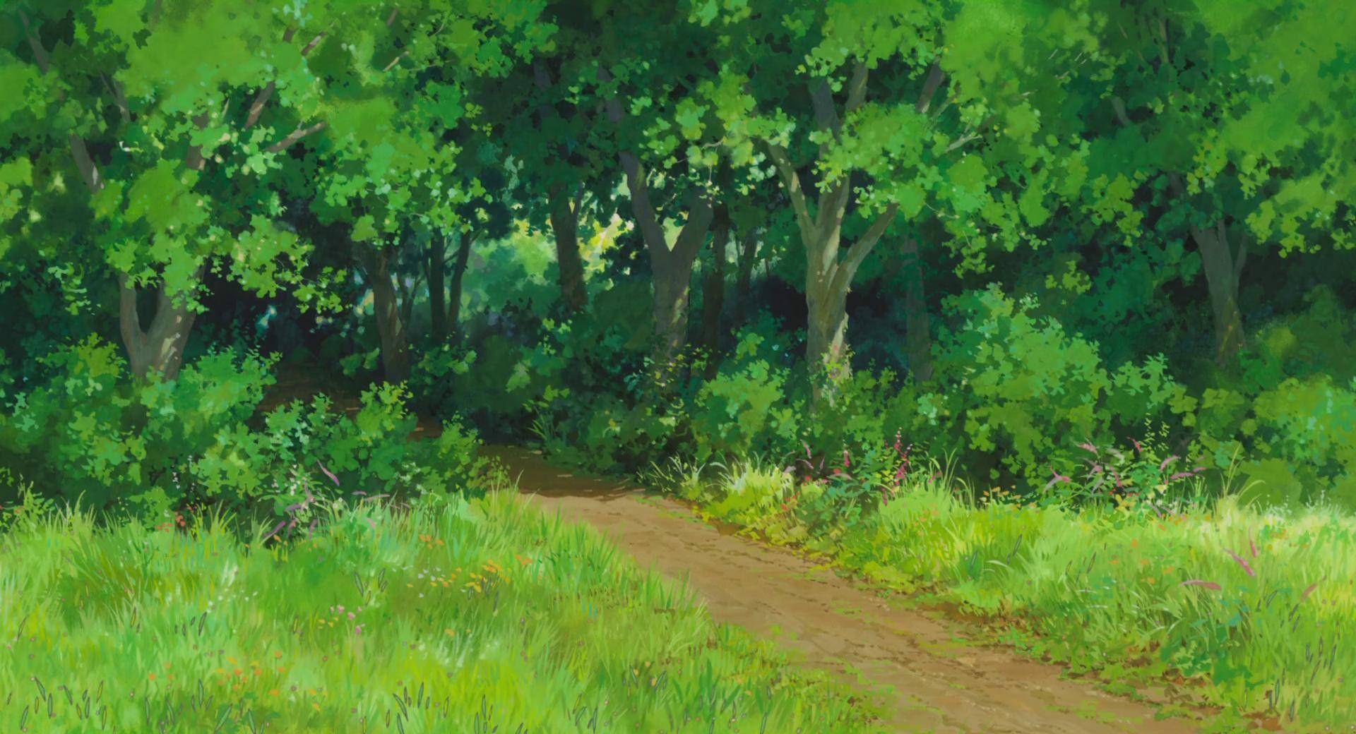 Красивый аниме фон лес 15