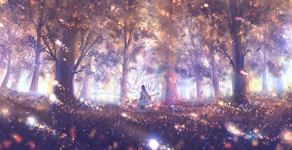 Красивый аниме фон лес 16