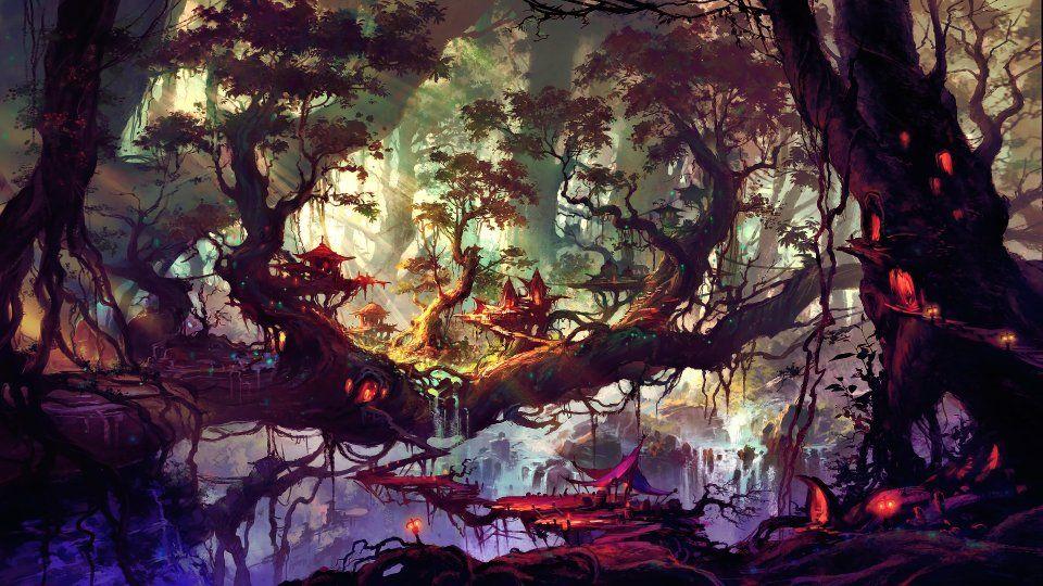 Красивый аниме фон лес 17