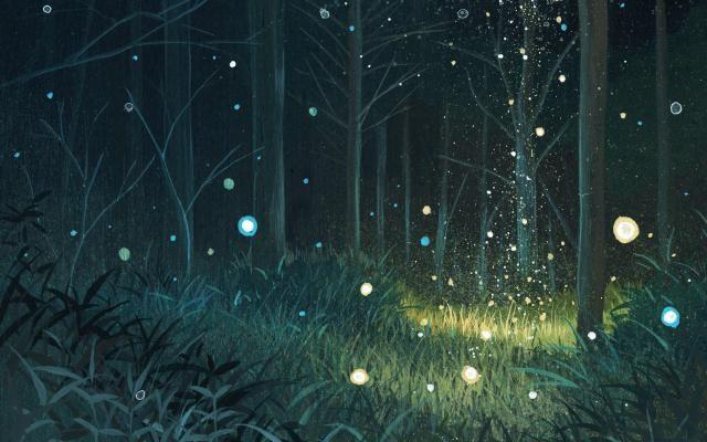 Красивый аниме фон лес 20