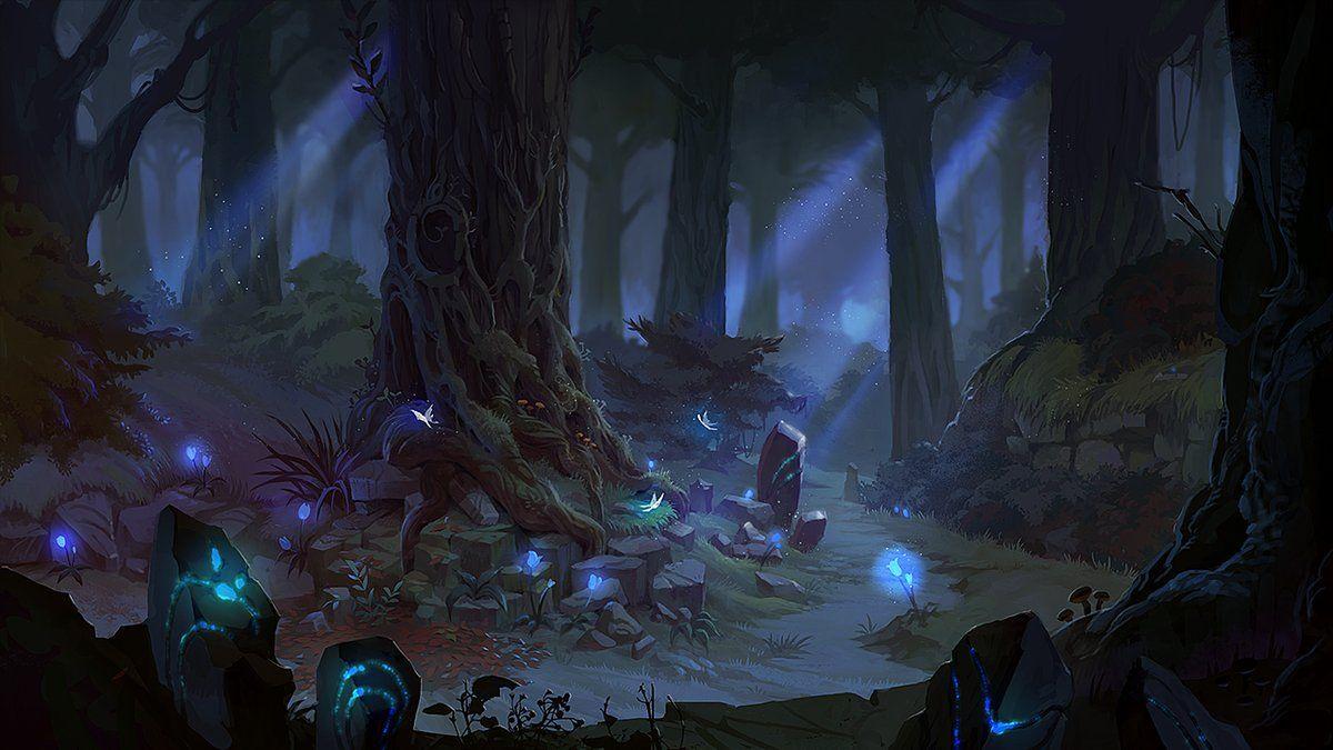 Красивый аниме фон лес 22