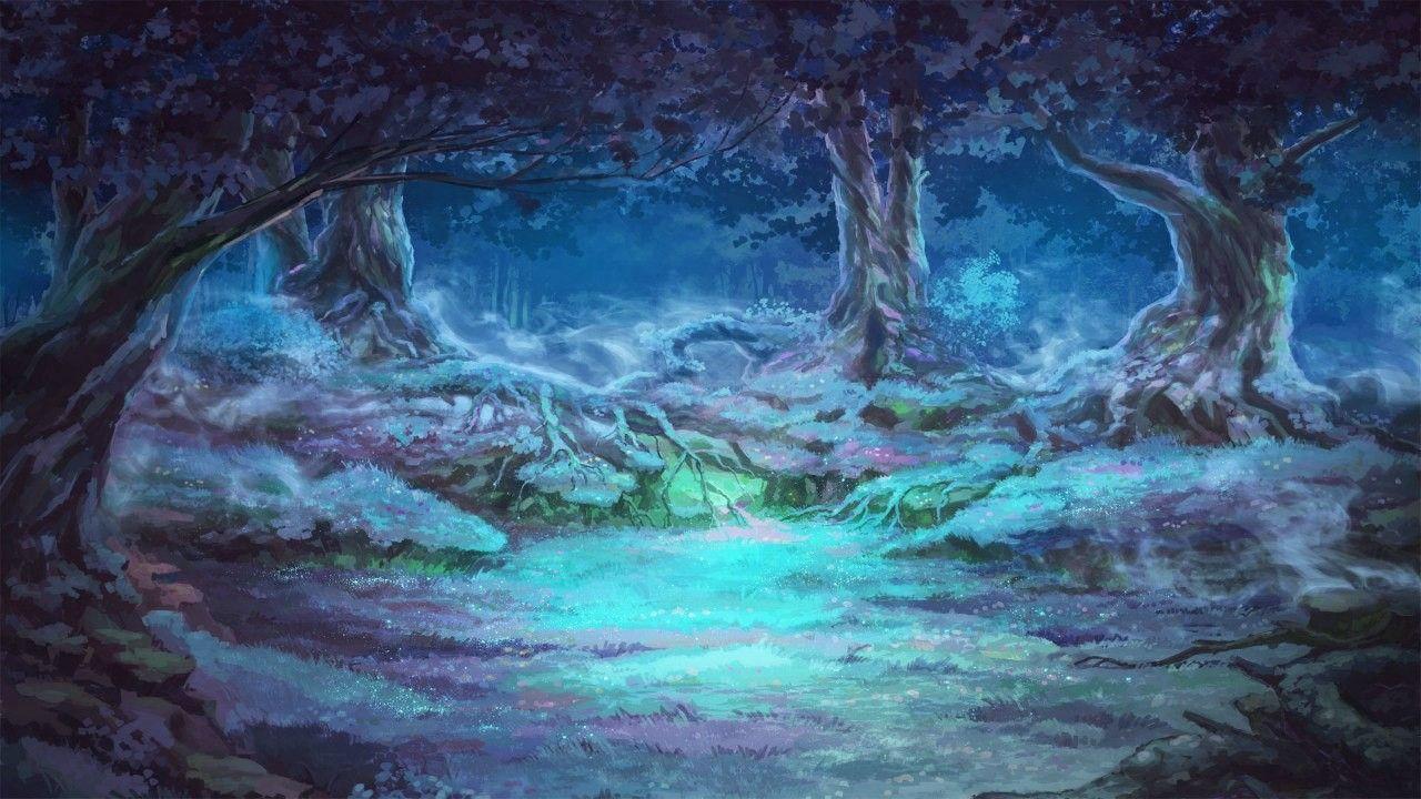 Красивый аниме фон лес 23